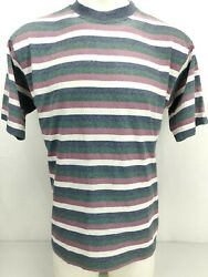 County Seat Shirt Small Men Striped Loose Vintage 90s Blue Green Purple White $19.00
