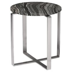 21.5 W Round Black Wood Marble Side Table Polished Stainless Steel Legs Open