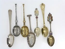 1865-1910and039s British And Austrian Collector Spoons Sterling Silver