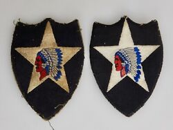 Pair Korean War Us Army 2nd Division Indian Head Patches - 82969