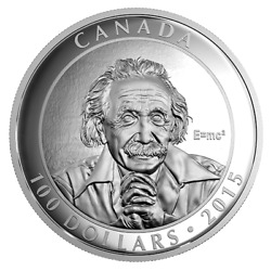 2015 Canada 100 Albert Einstein Theory Of Relativity Silver Proof 10 Oz Coin