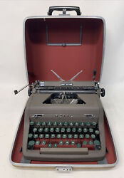 Minty Brown 1955 Royal Quiet De Luxe Typewriter Case Working Portable