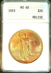 1923 20 Double Eagle Anacs Ms 60 Mint State Luster, Antique Holder Sharp Strike