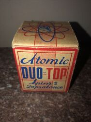 """Rare Early Americana Toy """"atomic Duo Top""""-spins 2 Tops At Once Brooklyn,ny 1930s"""