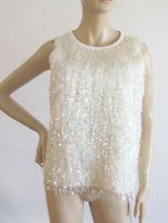 Womenand039s Blouse Tops Designer Kate Spade Sequin Scoop Neck Sleeves Top Size 6-med