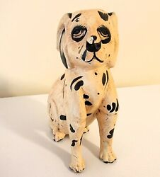 Antique Staffordshire Carved And Painted Wood Figure Of A Seated Dog