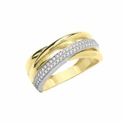 9ct Yellow Gold Cubic Zirconia Crossover Eternity Ring Sizes M-s Contact Us