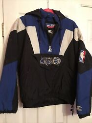 Vintage Orlando Magic Starter Coat Size Small 90s Pullover Jacket Official Licen