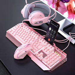 Mechanical Gaming Keyboard Dip Mouse Headset Led Backlit Combo Pack Usb Pc Ps4