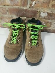 Coleman Hiking Boots 14448 Men's 10m. Brown, Teal With Green Shoe Laces.