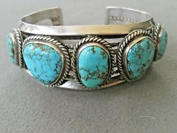 Native American Spiderweb Nevada Blue Turquoise Row Sterling Silver Bracelet 71g