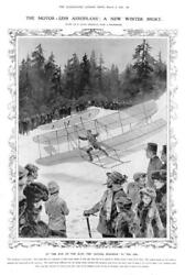 1910 Antique Print - Aeroplanes Winter Sport Flying Machine Snow Slope 230