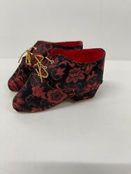 Small Chinese Hand Made Embroidered Shoes Bound Feet Red Lotus Pair Unused