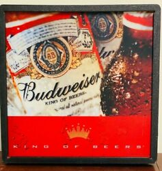Vintage Budweiser King Of Beers Acrylic Light Up Beer Sign