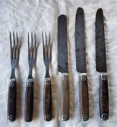 Antique Civil War Era J Russell And Co Green River Works Cutlery 3 Knives 3 Forks