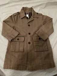 Tea Collection Boys Brown Plaid Size 3t Trench Coat