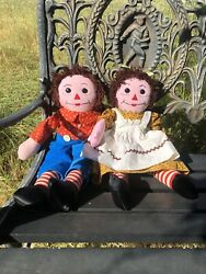 """Vintage Raggedy Anne And Andy Dolls 20"""" Button Eyes No Flaws L@@k Nice"""