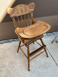 Ornate Vintage Oak Press Back Wooden Baby Feeding High Chair With Removable Tray