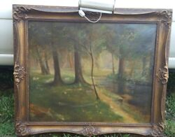Antique Oil Painting Listed Artist Amazing M H Minton Signed Dated Creek Woods