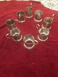 Vintage Soviet Railroad Silver Plated Tea Cup Holder Set Of Eight C. 1960andrsquos