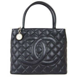 Medallion Quilted Cc Hand Tote Bag 6126958 Purse Black Caviar Skin 60016