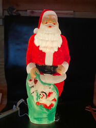 """Vintage Empire 46"""" Blow Mold Giant Santa Green Toy Sack Christmas Lighted"""