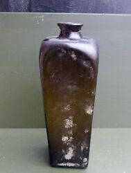 Nice Antique Dark Green Glass Square Gin Bottle Dutch Or English 17th/18th C.