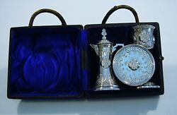 19th Century Antique Sterling Silver Travelling Communion Set By George Unite