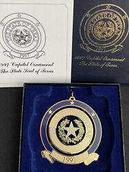 1997 Capitol Christmas Ornament The State Of Texas Seal W Box And Paper