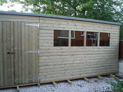 Tanalised Pressure Treated Pent Shed 12x10 Best On Ebay