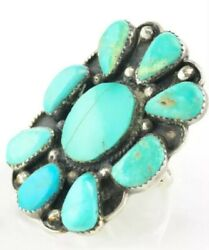 Vintage Native American Cluster Sterling Silver Ring Sz 10 Blue Turquoise Shield
