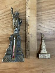 Two Vintage Statue Of Liberty Souvenirs Pencil Sharpener Thermometer New York