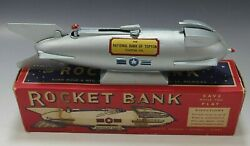 Rocket Bank 1950's Duro Mold Mechanical Chrome Mercury Space With Box And Key