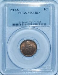 1912 S Pcgs Ms64bn Brown Lincoln Wheat Cent