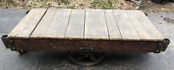 Tall Vintage Towsley Industrial Railroad Cart Coffee Table. 60x30x17