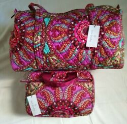 Vera Bradley- 2pc Small Duffle Bag And Travel Case In Resort Medallion Luggage Nwt