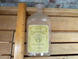 Vintage Old Grand Dad Distillery Whiskey Flask With Great Label