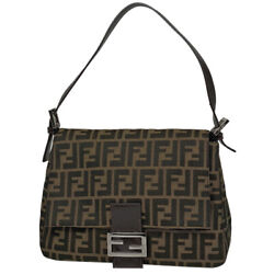 Pre-owned Fendi Zucca Logo One Shoulder Bag Brown Canvas Leather Free Shipping