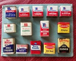 Vintage Metal Spice Tins - Lot Of 14 - Sauerand039s Mccormick Ann Page Old Mansion