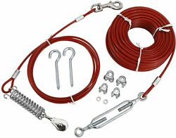 Dog Cable Kit 100 Ft Heavy Weight Tie Out Cable With 10 Ft Runner For Dogs125lb