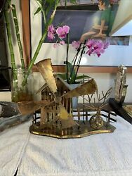 """Copper Metal Art Windmill Music Box 10""""x7""""high Made In Hong Kong Works Perfect"""