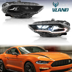 Pair Full Led Projector Headlight Sequential Turn Signal For 18-21 Ford Mustang