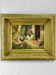 Antique French Painting Of A Farm Village With Hens Rooster And Dog Oil On Board