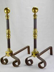 Pair Of Mid Nineteenth-century French Fire Dogs Andirons - Brass And Bronze 25andfrac14