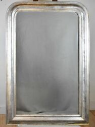Large Antique French Louis Philippe Mirror With Silver Frame 30x 44