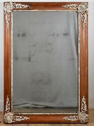 Large Early Nineteenth Century French Mirror With Timber Frame 28andfrac34 X 41