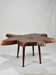 1950and039s Brutalist Coffee Table - Large Tree Trunk Table Top 38andfrac14