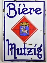 Large 1960's French Enamel Sign - Beer From Alsace 54 X 37¾