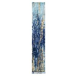 2and0396x15and0398 Hand Knotted Blue Mosaic Design Wool And Silk Xl Runner Rug R62641