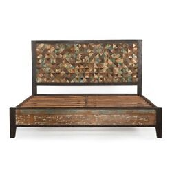 86 L Water Color Sanded King Bed Reclaimed Hardwoods Rectangle Rustic Paint